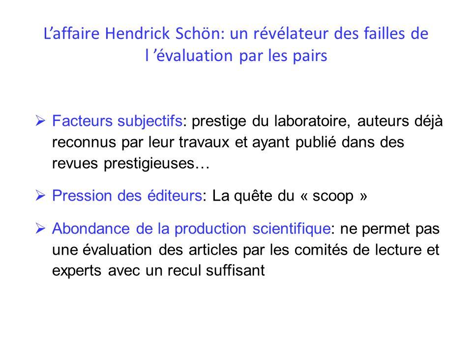 L'affaire Hendrick Schön: un révélateur des failles de l 'évaluation par les pairs