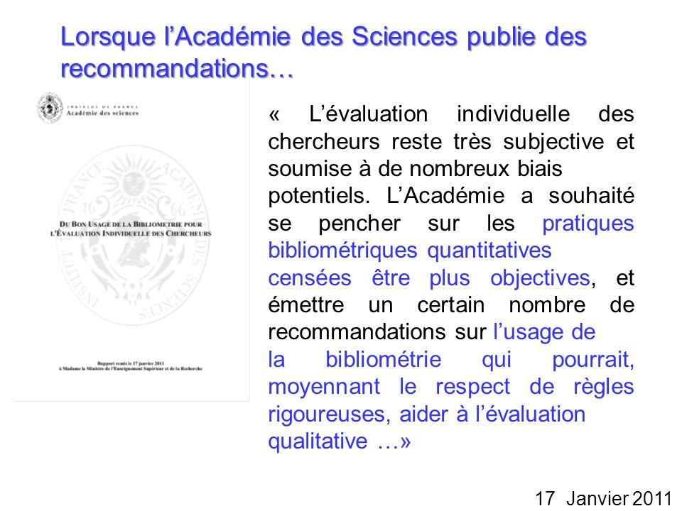 Lorsque l'Académie des Sciences publie des recommandations…