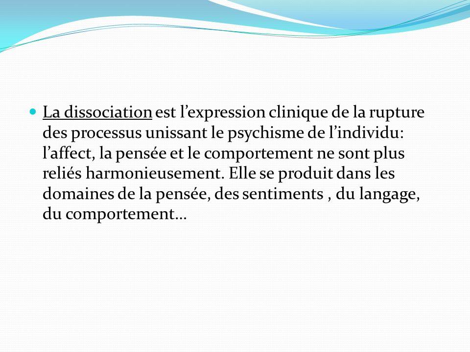 La dissociation est l'expression clinique de la rupture des processus unissant le psychisme de l'individu: l'affect, la pensée et le comportement ne sont plus reliés harmonieusement.