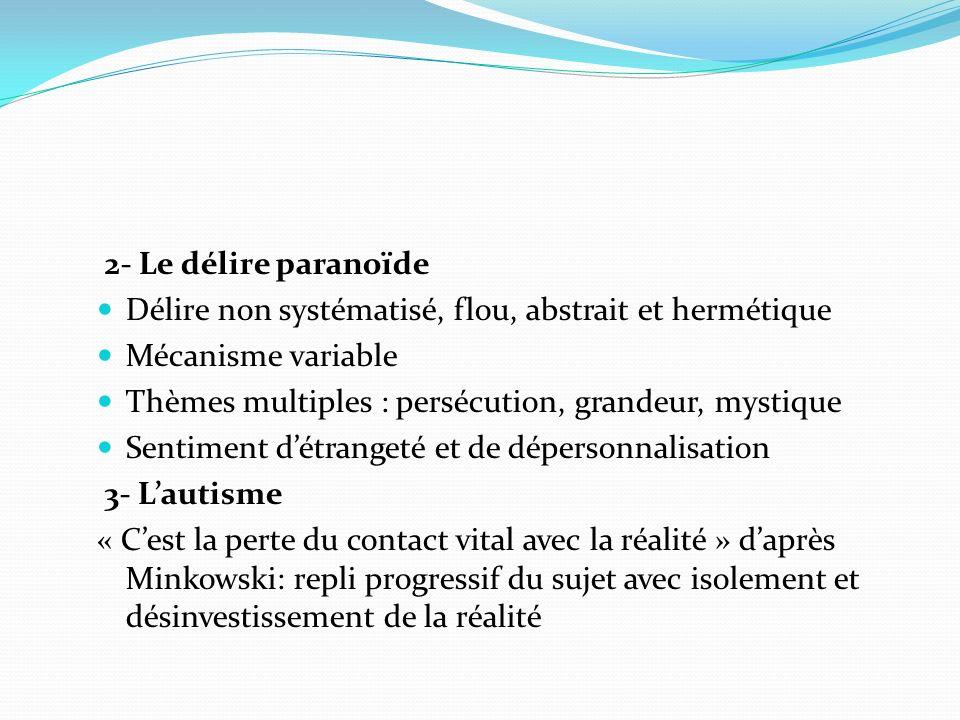 2- Le délire paranoïde Délire non systématisé, flou, abstrait et hermétique. Mécanisme variable. Thèmes multiples : persécution, grandeur, mystique.