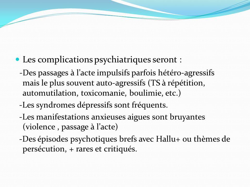 Les complications psychiatriques seront :
