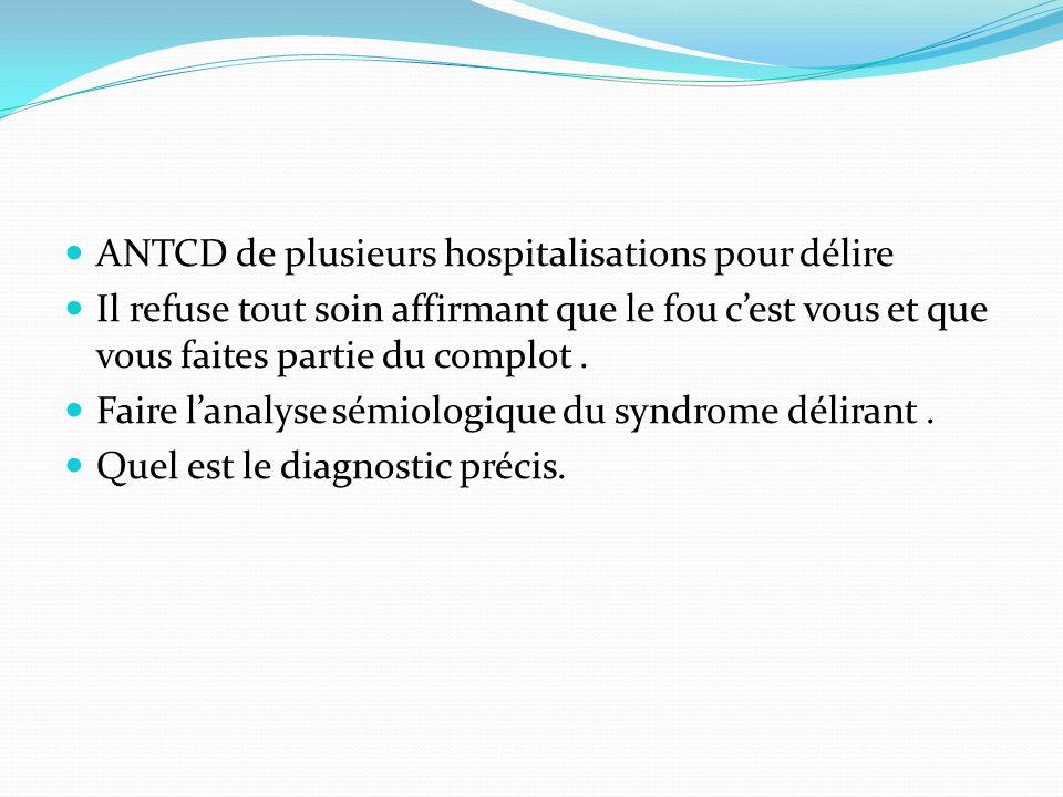 ANTCD de plusieurs hospitalisations pour délire