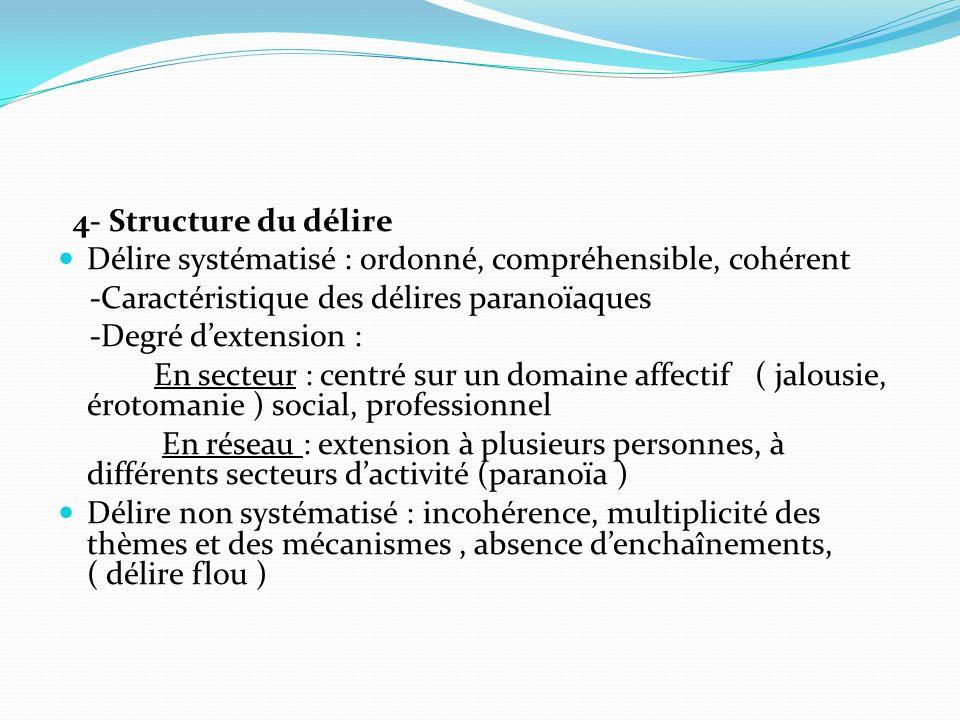 4- Structure du délire Délire systématisé : ordonné, compréhensible, cohérent. -Caractéristique des délires paranoïaques.