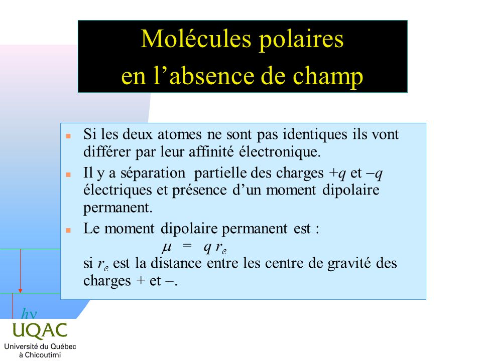 Molécules polaires en l'absence de champ