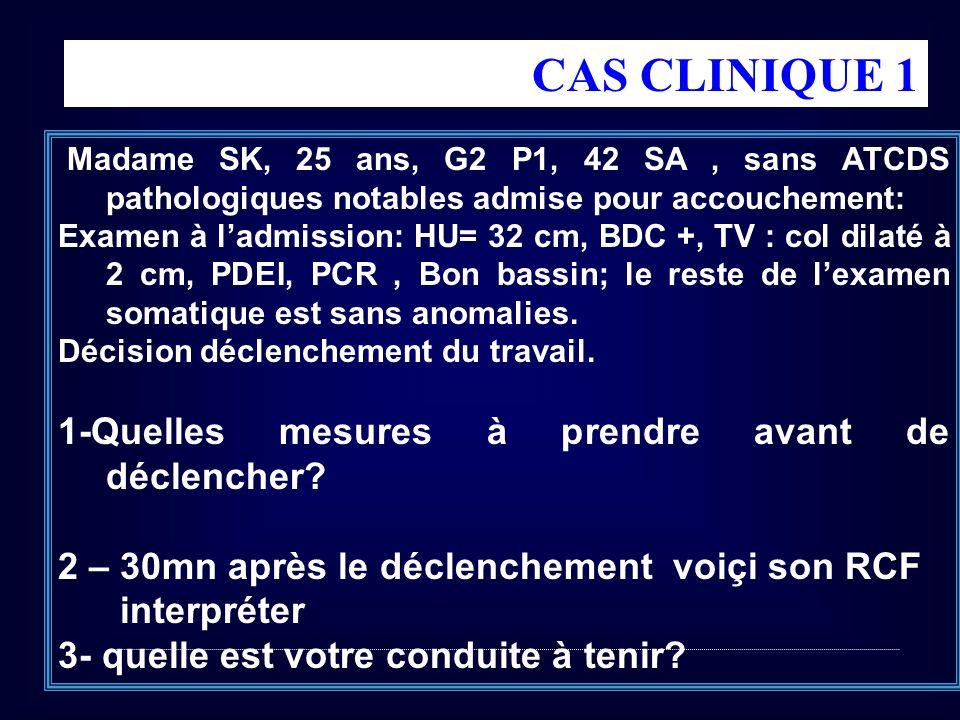 CAS CLINIQUE 1 1-Quelles mesures à prendre avant de déclencher
