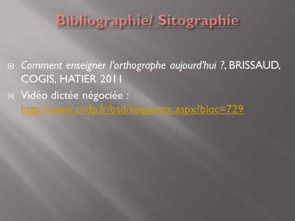 Bibliographie/ Sitographie