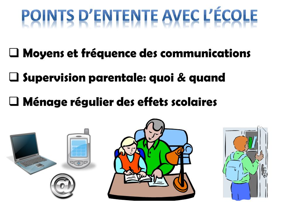 Points d'entente avec l'école