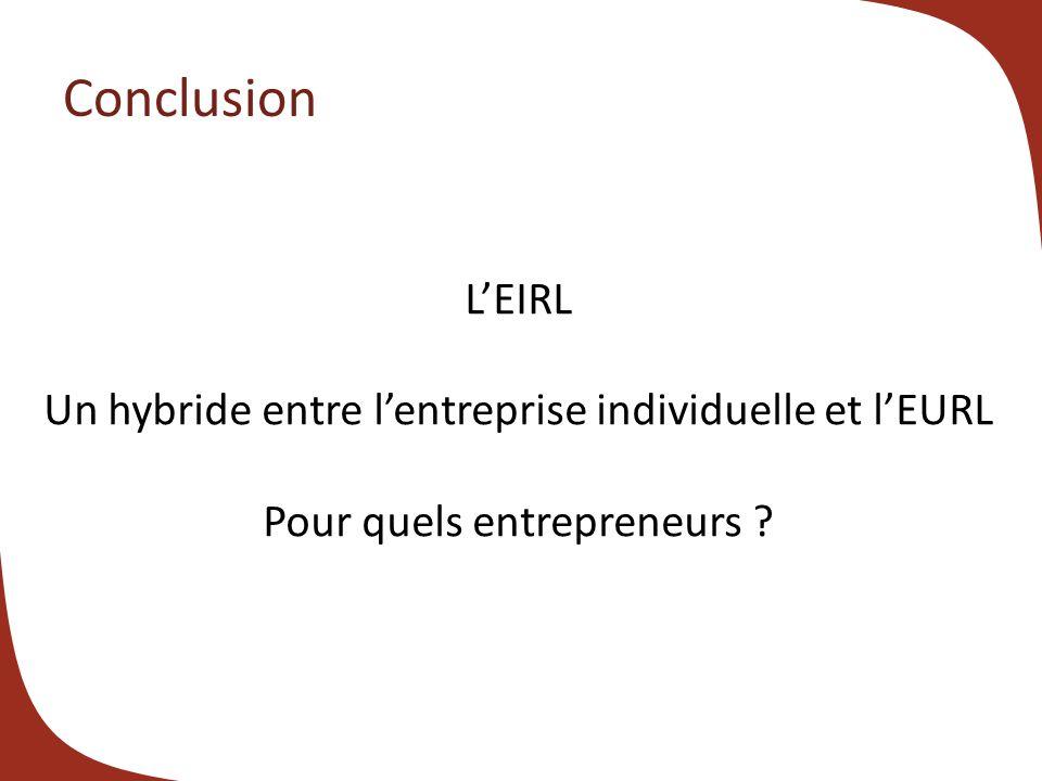 Conclusion L'EIRL Un hybride entre l'entreprise individuelle et l'EURL