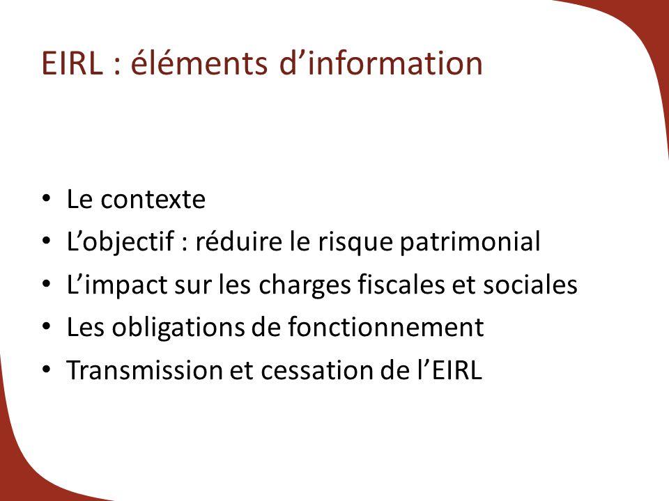 EIRL : éléments d'information