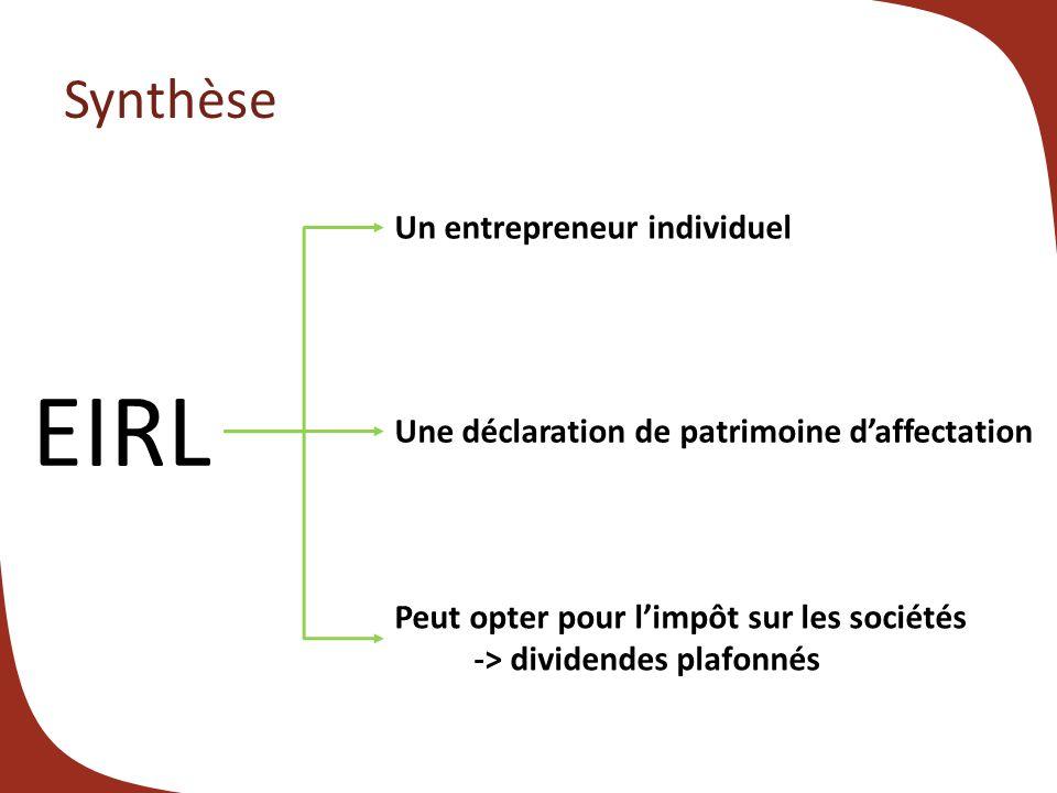 EIRL Synthèse Un entrepreneur individuel