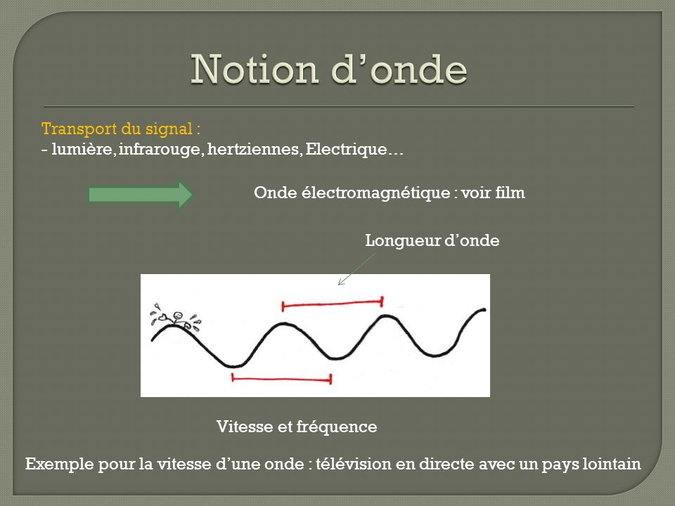 Notion d'onde Transport du signal :