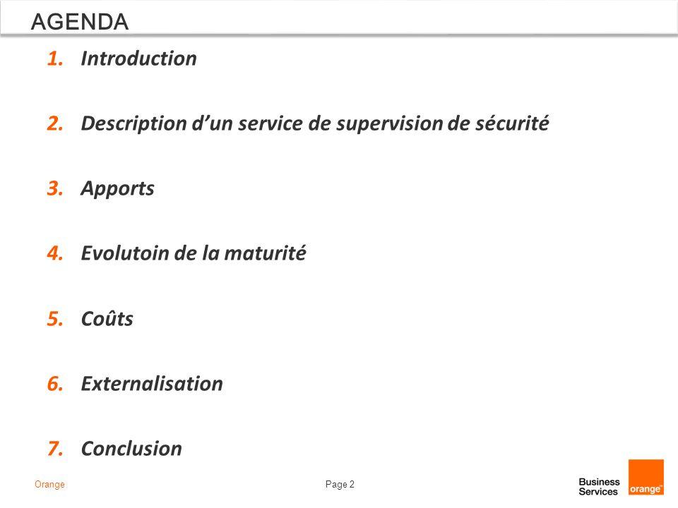 AGENDA Introduction. Description d'un service de supervision de sécurité. Apports. Evolutoin de la maturité.