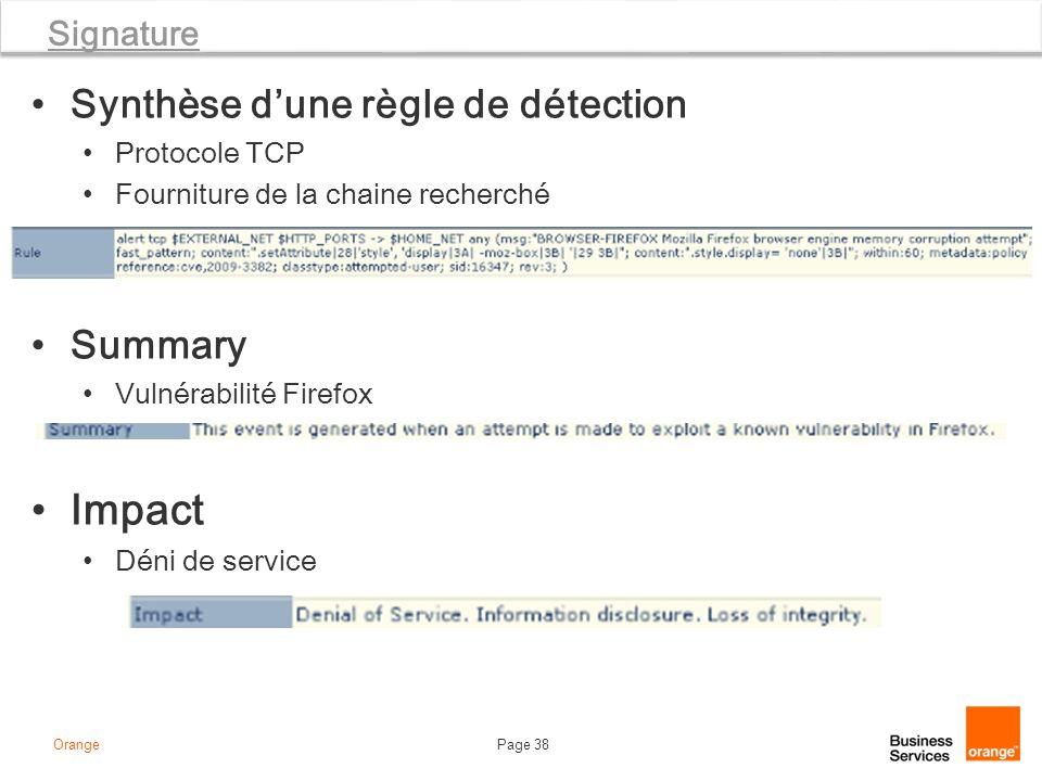 Impact Synthèse d'une règle de détection Summary Signature