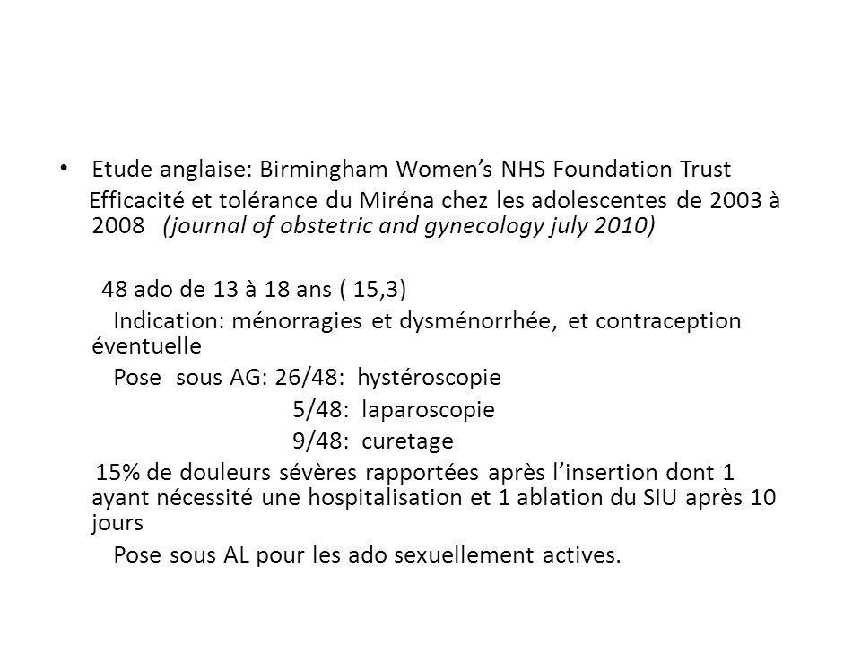 Etude anglaise: Birmingham Women's NHS Foundation Trust