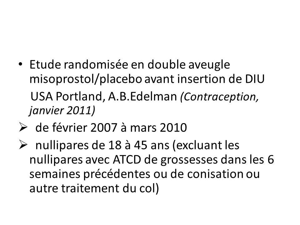 Etude randomisée en double aveugle misoprostol/placebo avant insertion de DIU