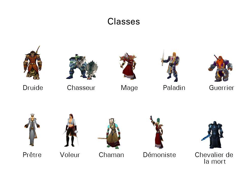 Classes Druide Paladin Chasseur Mage Guerrier Prêtre Voleur Démoniste