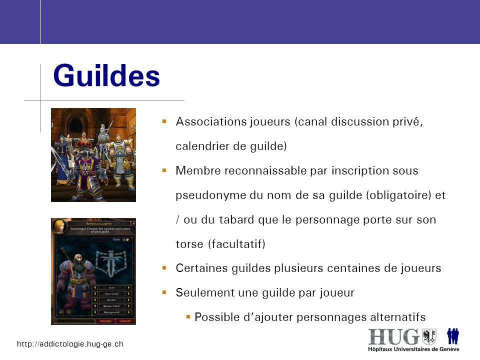 Guildes Associations joueurs (canal discussion privé, calendrier de guilde)
