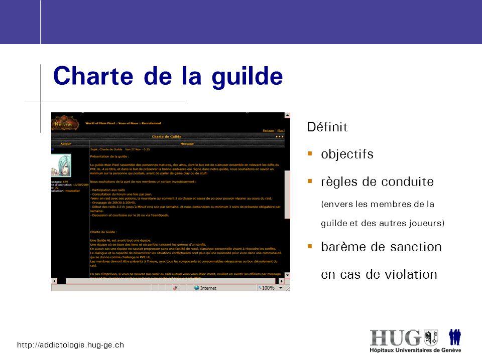 Charte de la guilde Définit objectifs