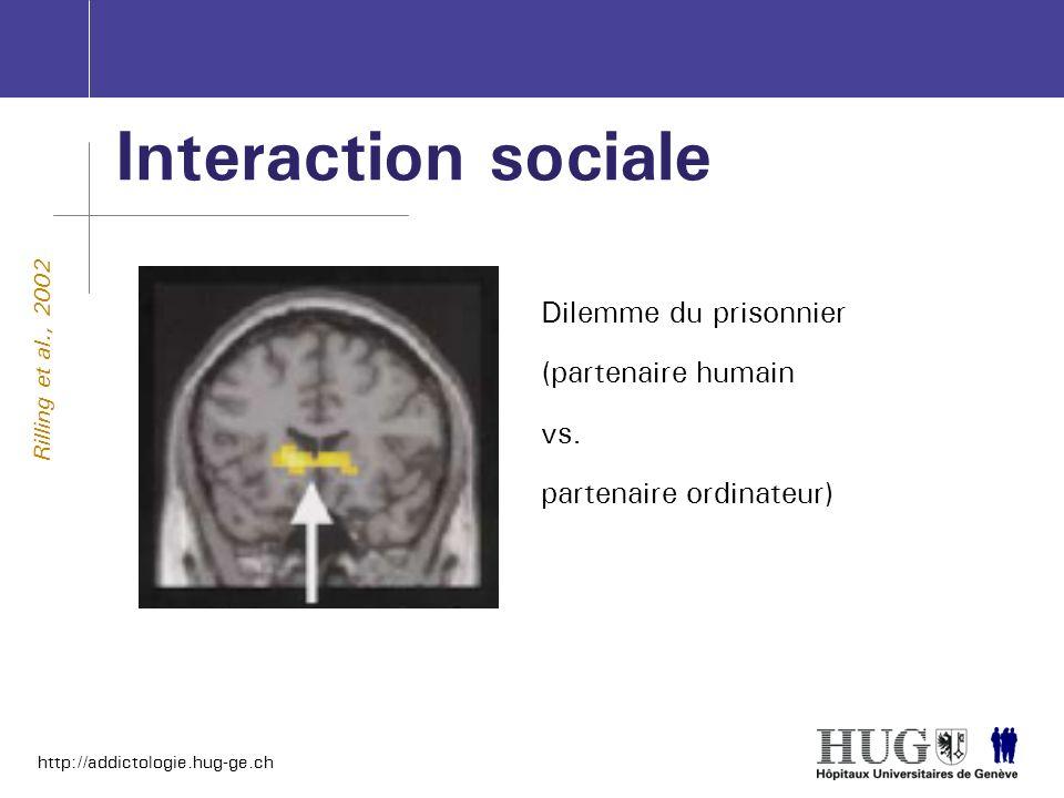 Interaction sociale Dilemme du prisonnier (partenaire humain vs.