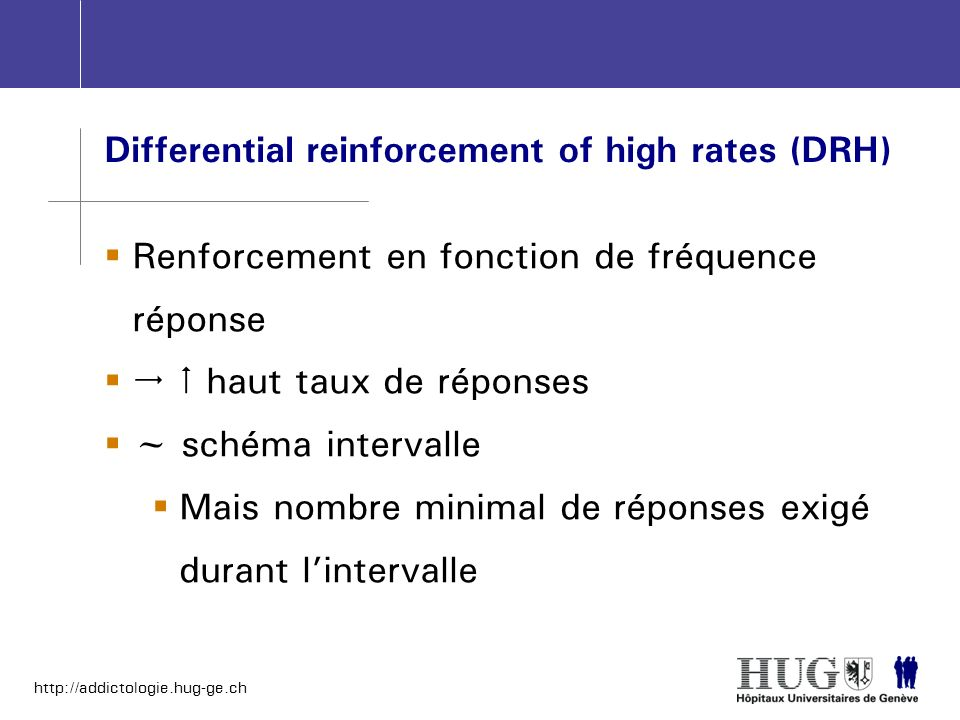 Differential reinforcement of high rates (DRH)