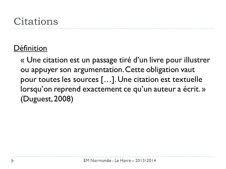 Citations Définition.