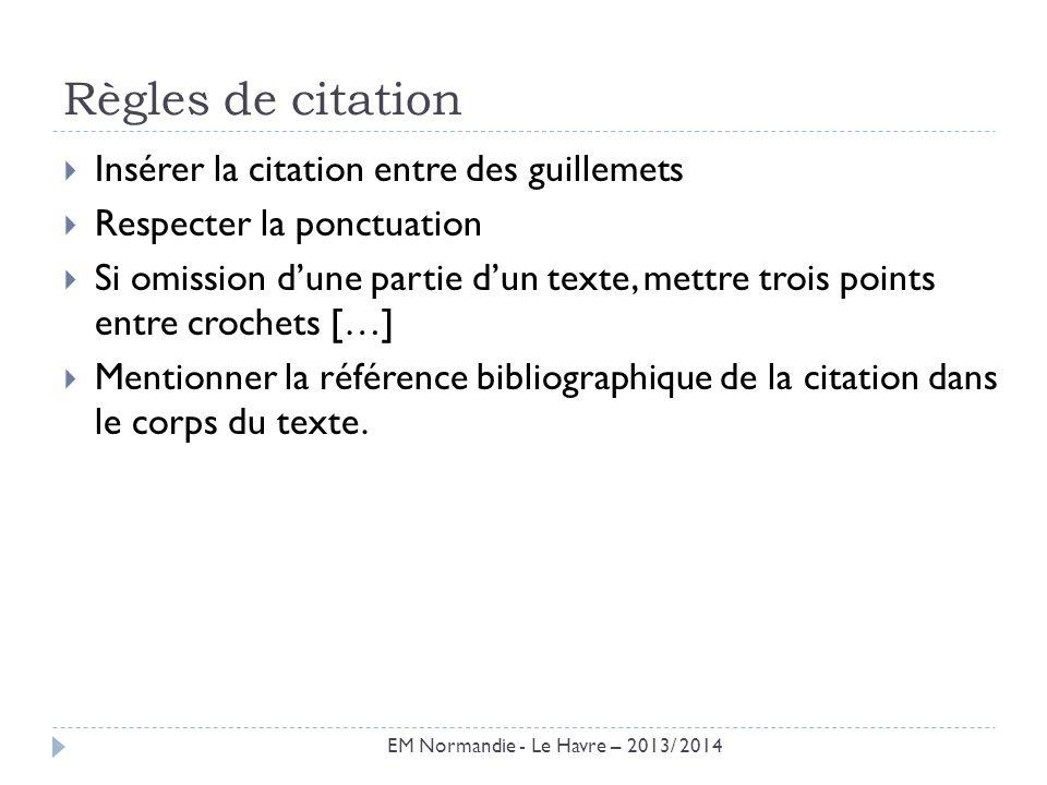 Règles de citation Insérer la citation entre des guillemets