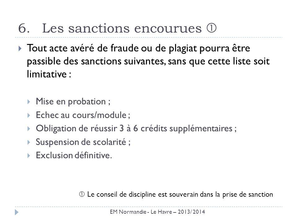 Les sanctions encourues 