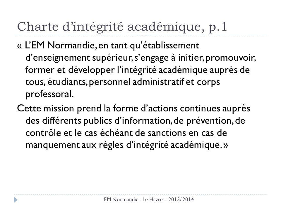 Charte d'intégrité académique, p.1