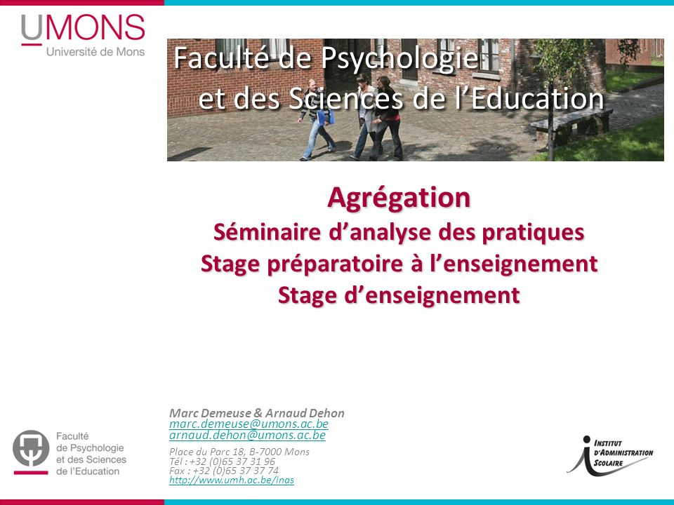 Agrégation Séminaire d'analyse des pratiques Stage préparatoire à l'enseignement Stage d'enseignement