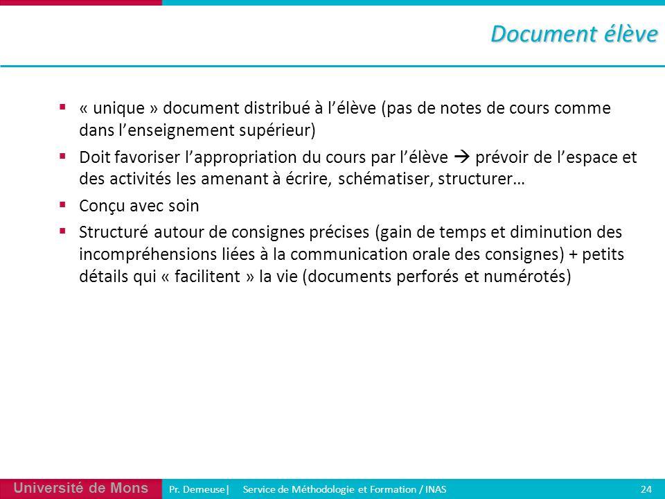 Document élève « unique » document distribué à l'élève (pas de notes de cours comme dans l'enseignement supérieur)