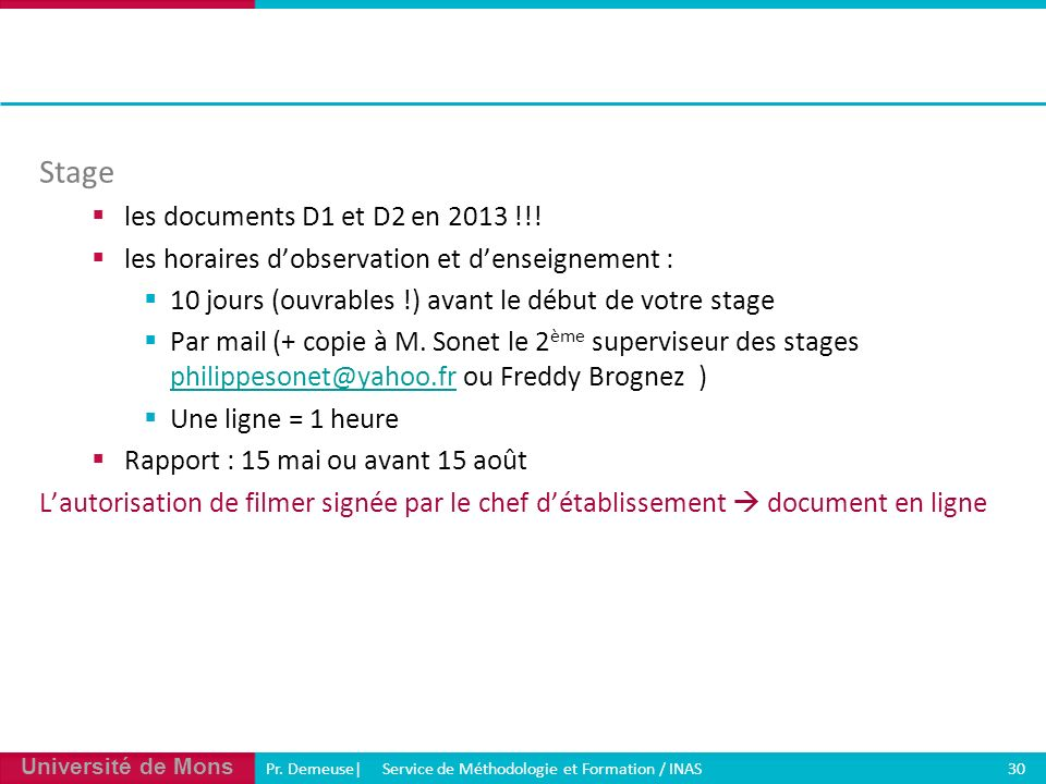 Stage les documents D1 et D2 en 2013 !!!