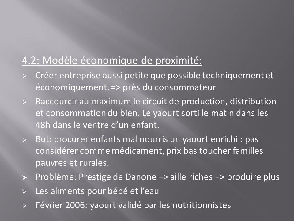 4.2: Modèle économique de proximité: