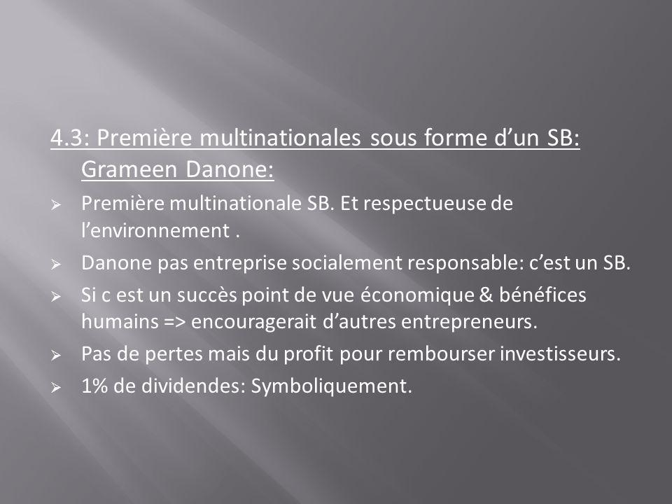 4.3: Première multinationales sous forme d'un SB: Grameen Danone: