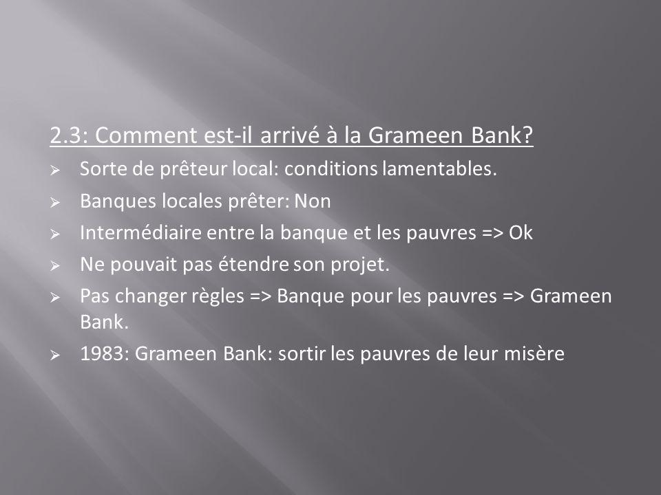 2.3: Comment est-il arrivé à la Grameen Bank