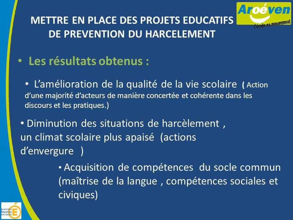 METTRE EN PLACE DES PROJETS EDUCATIFS DE PREVENTION DU HARCELEMENT