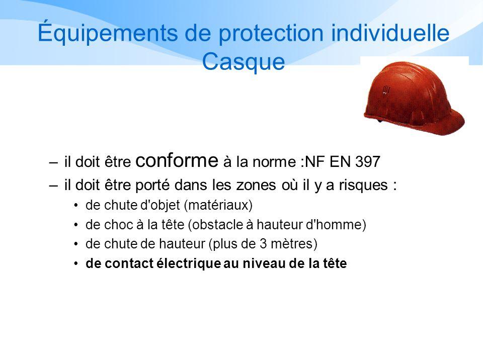 Équipements de protection individuelle Casque