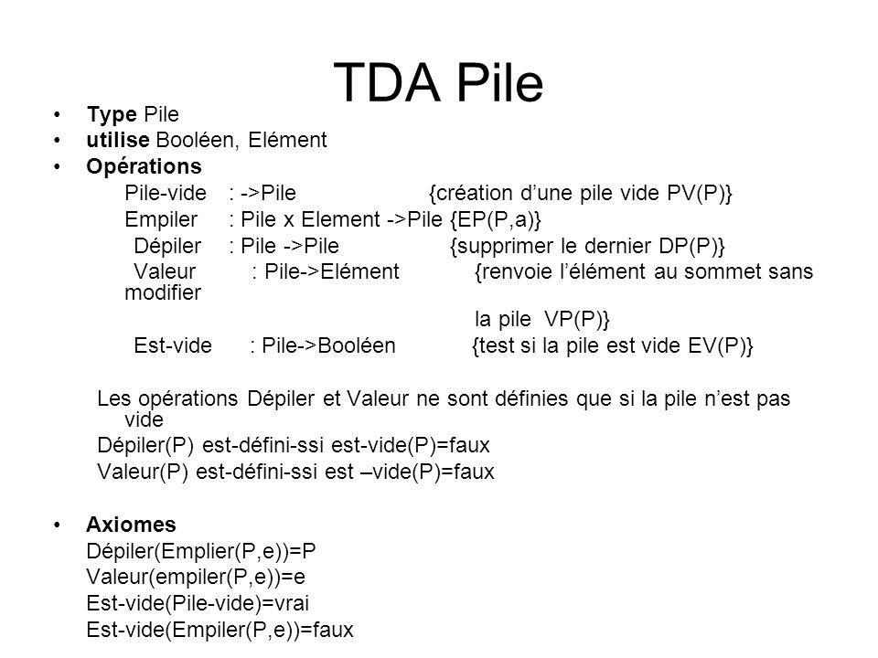 TDA Pile Type Pile utilise Booléen, Elément Opérations