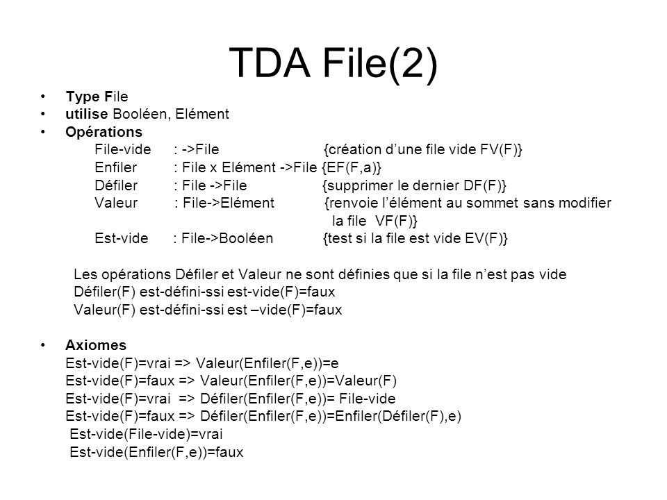 TDA File(2) Type File utilise Booléen, Elément Opérations