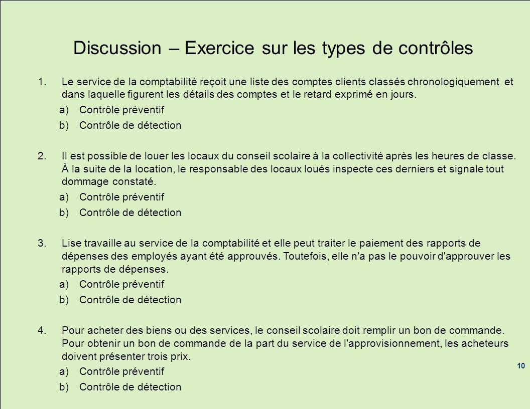 Discussion – Exercice sur les types de contrôles