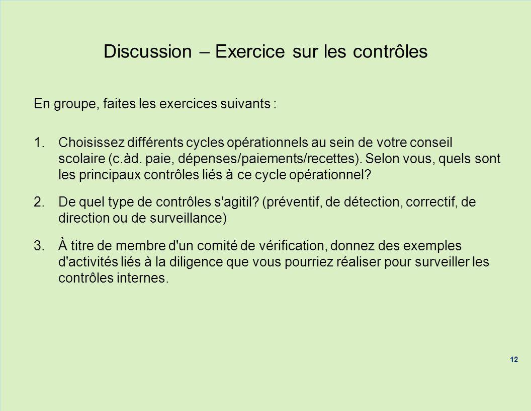 Discussion – Exercice sur les contrôles