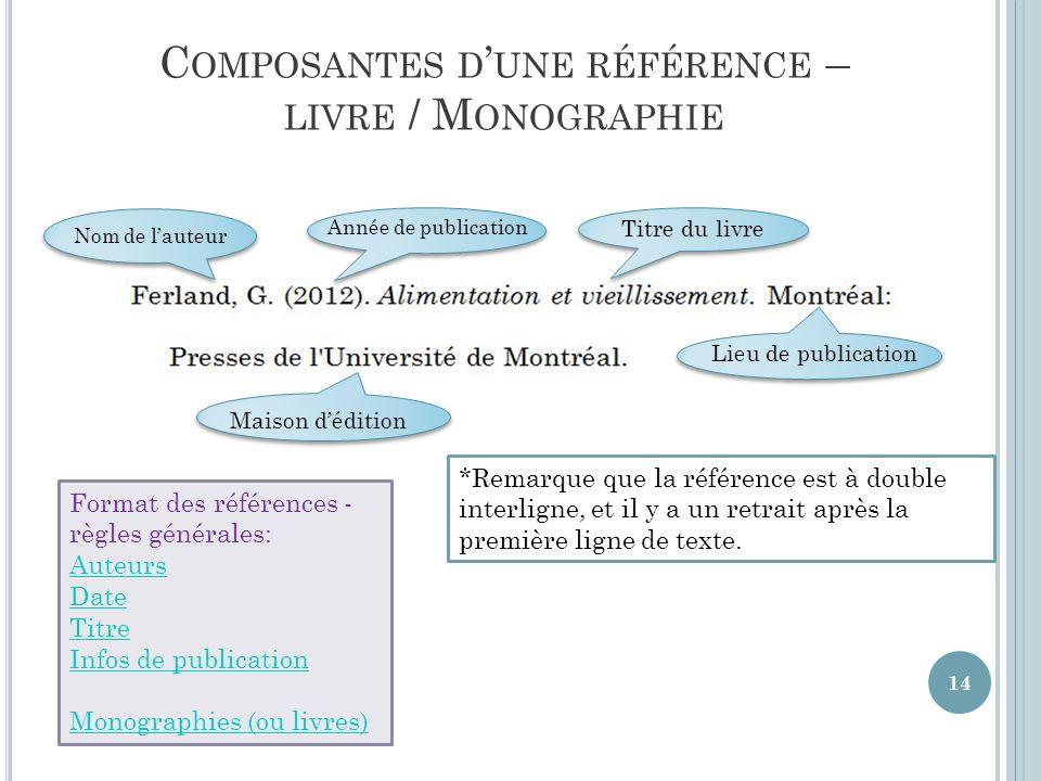 Composantes d'une référence – livre / Monographie