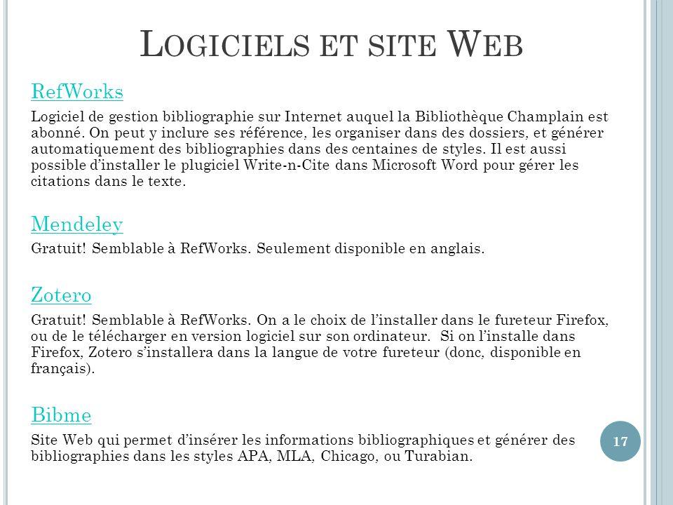 Logiciels et site Web RefWorks Mendeley Zotero Bibme