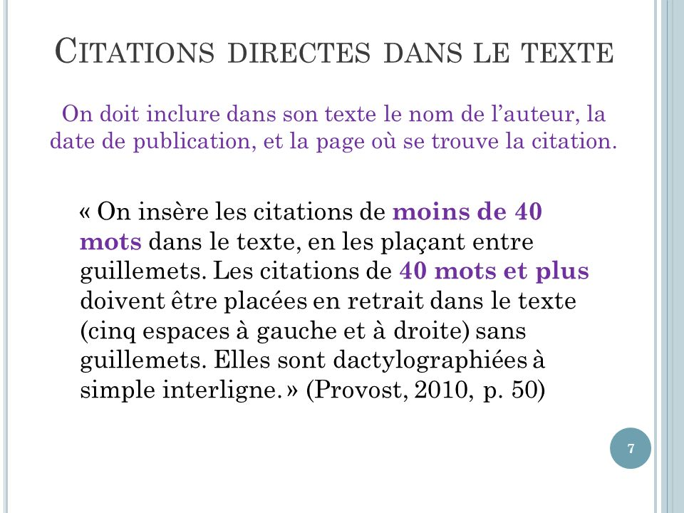 Citations directes dans le texte