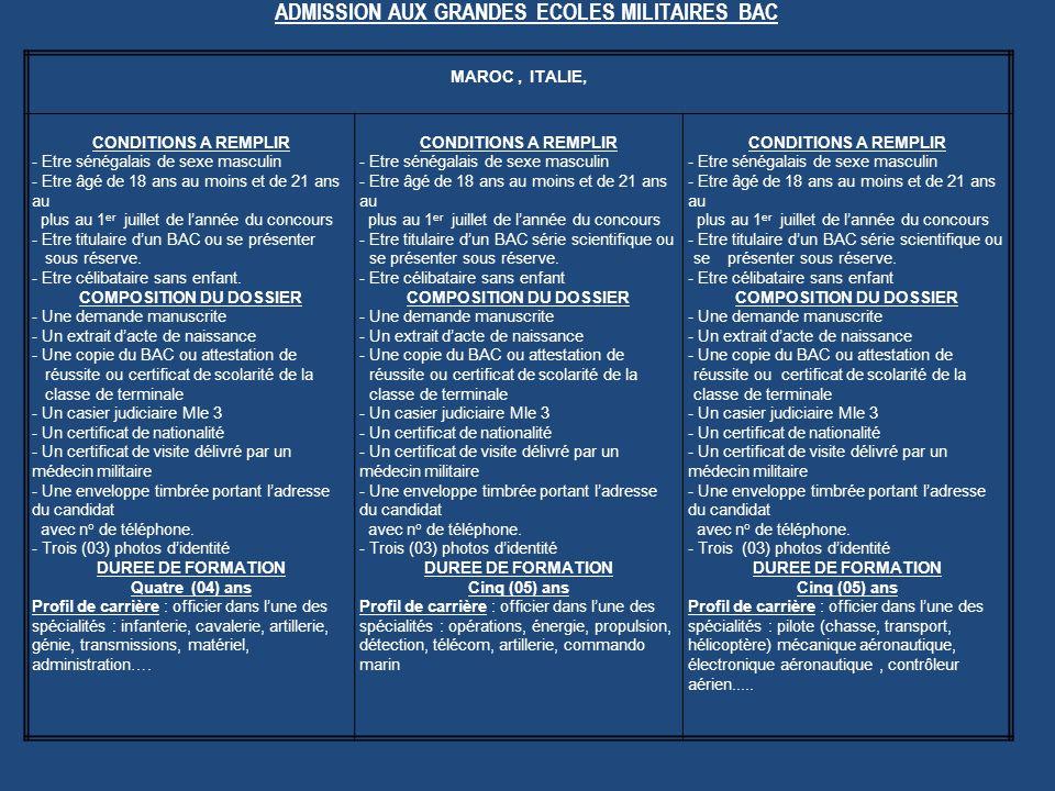 ADMISSION AUX GRANDES ECOLES MILITAIRES BAC