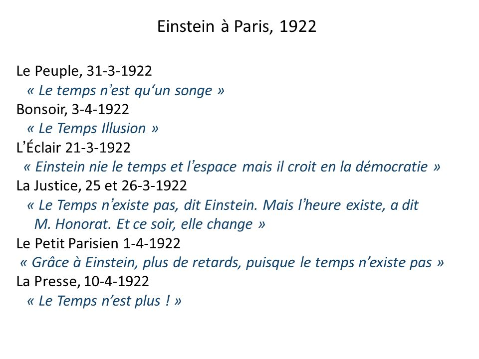 Einstein à Paris, 1922 Le Peuple,