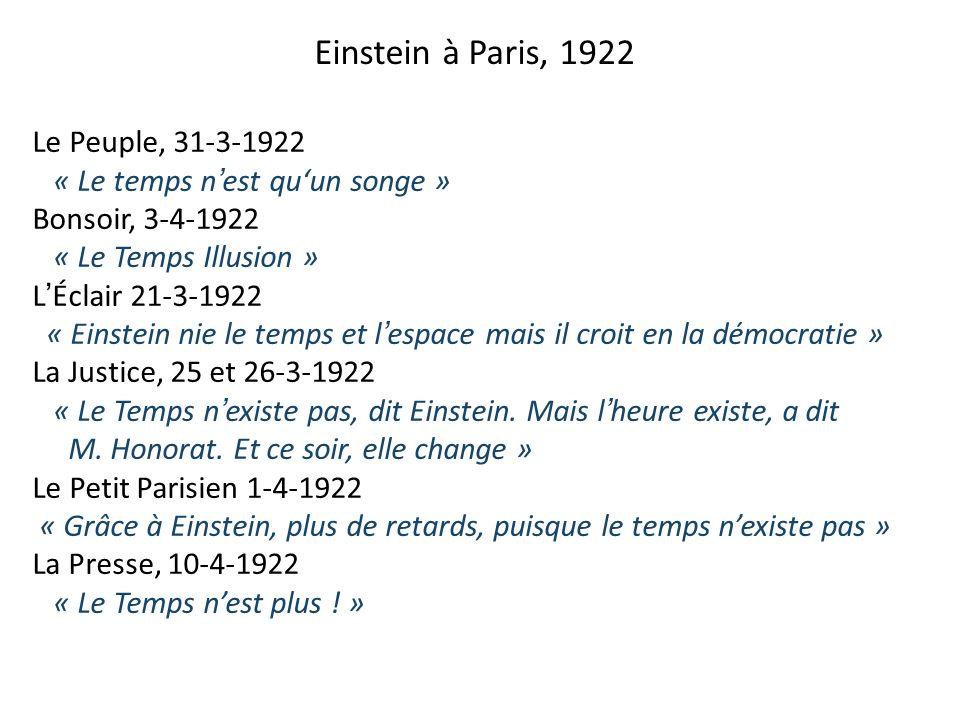 Einstein à Paris, 1922 Le Peuple, 31-3-1922