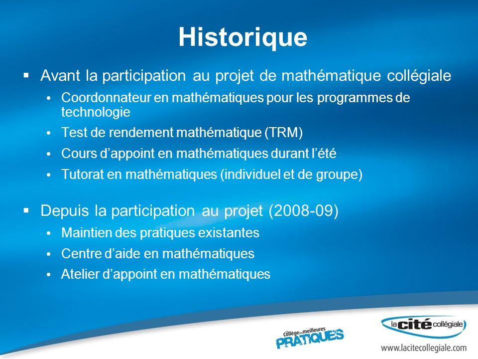 Historique Avant la participation au projet de mathématique collégiale