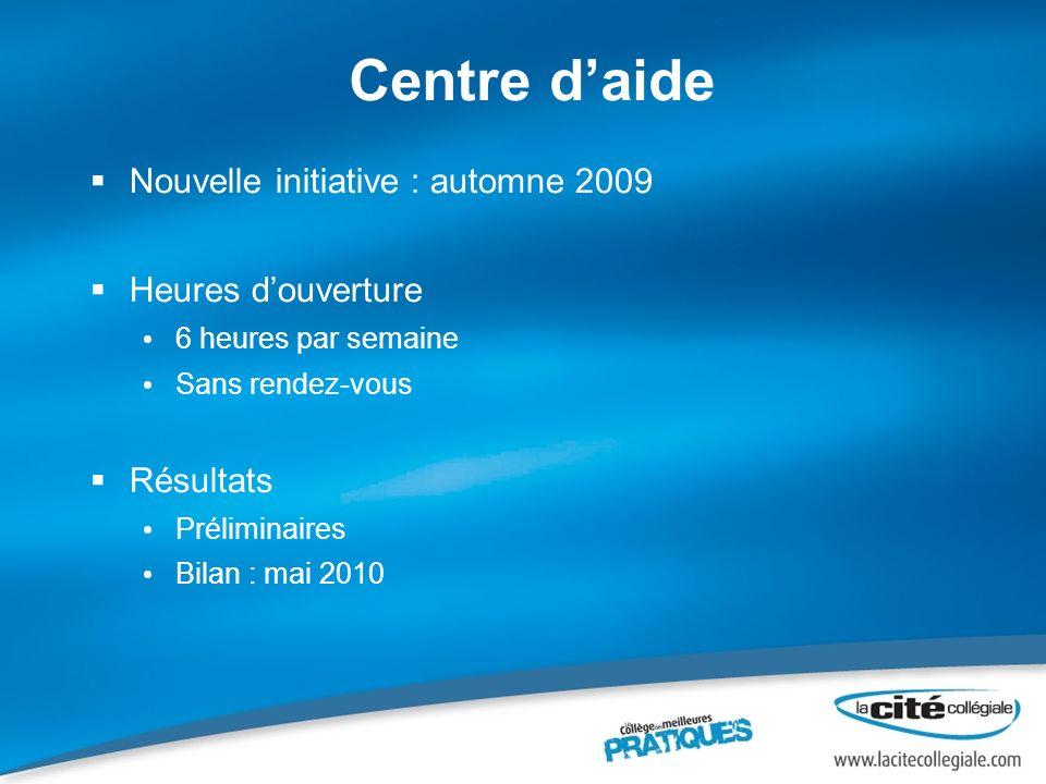 Centre d'aide Nouvelle initiative : automne 2009 Heures d'ouverture