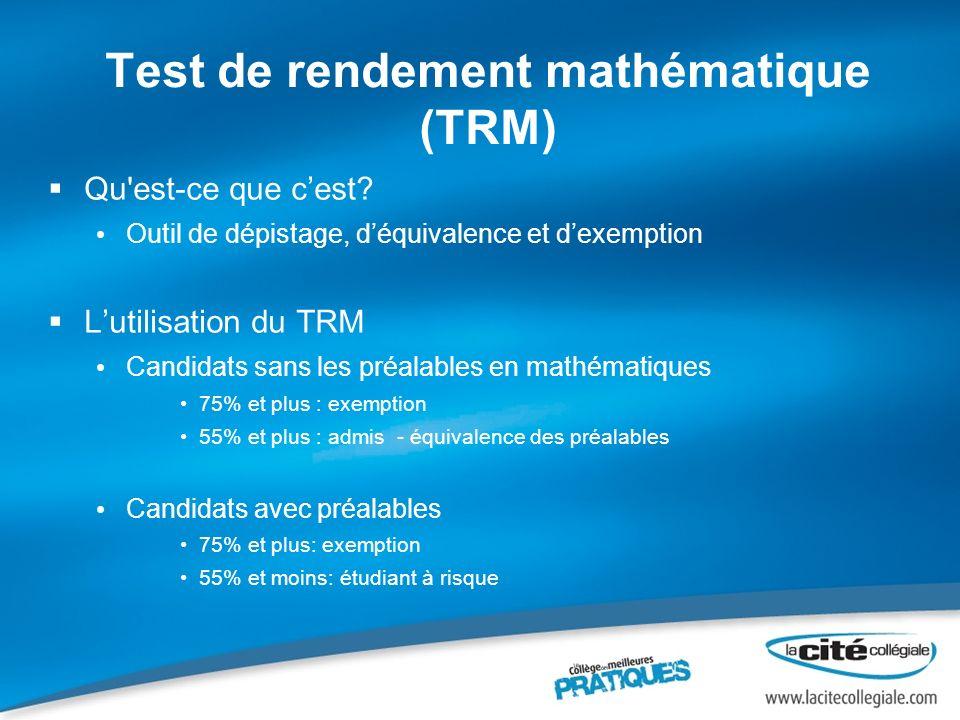 Test de rendement mathématique (TRM)