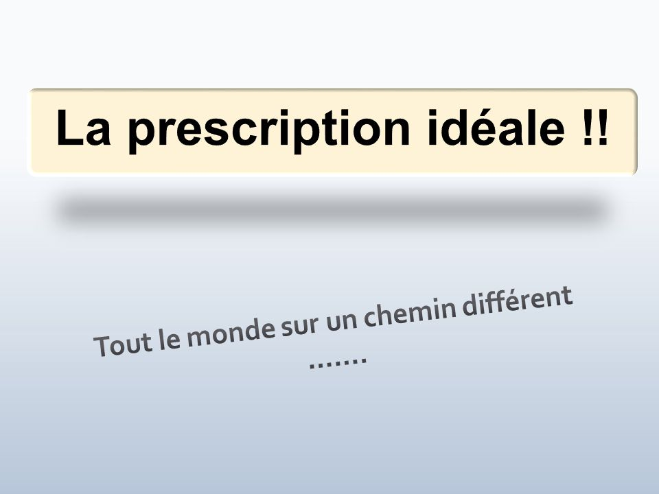 La prescription idéale !!